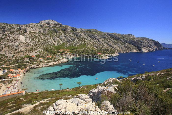 France, Bouches du Rhone, Marseille, Creeks National Park, Sormiou Creek, beach and little harbour