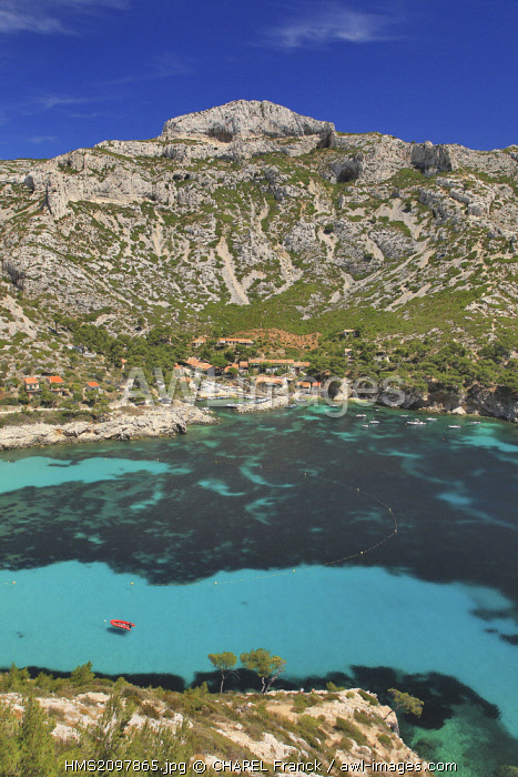 France, Bouches du Rhone, Marseille, Creeks National Park, Sormiou Creek and the small harbour