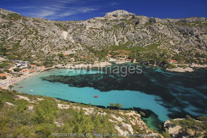 France, Bouches du Rhone, Marseille, Creeks National Park, Sormiou Creek the beach and little harbour