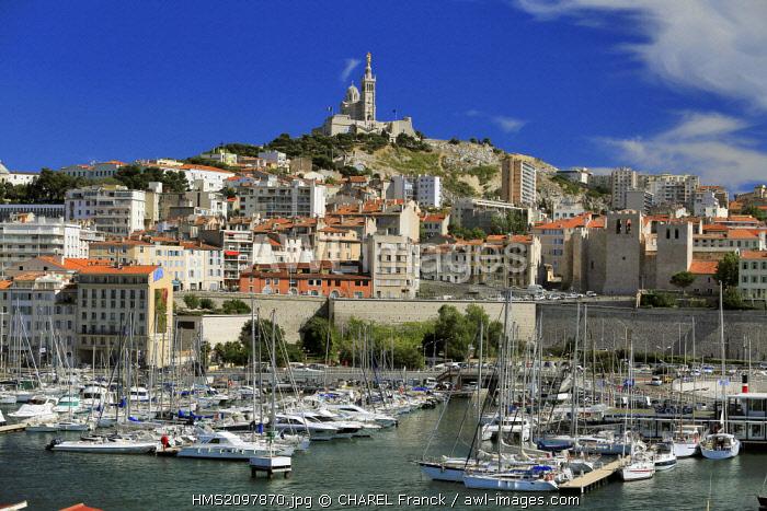 France, Bouches du Rhone, Marseille, vieux port of Marseille and the basilica Notre Dame de la Garde
