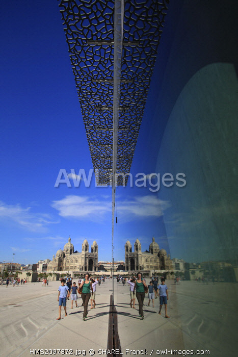 France, Bouches du Rhone, Marseille, Sainte-Marie-Majeure cathedral of Marseille (also called la Major) and the MUCEM