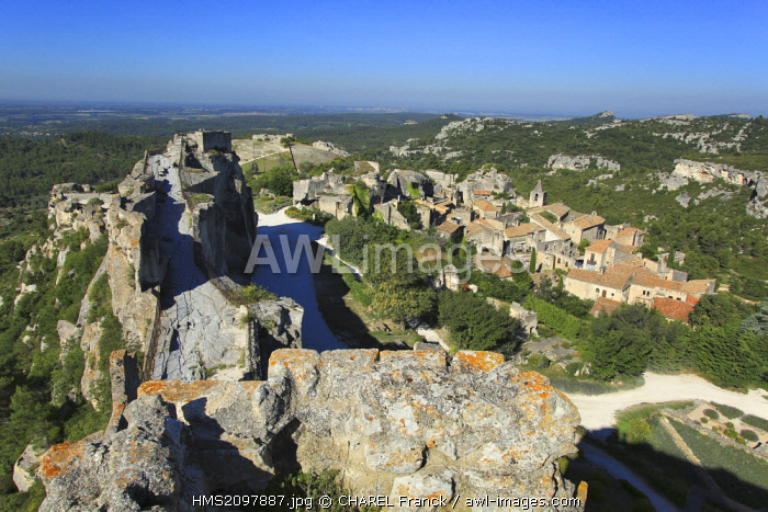 France, Bouches du Rhone, Les Baux de Provence, labeled Les Plus Beaux Villages de France (the Most Beautiful Villages of France), village seen from the castle