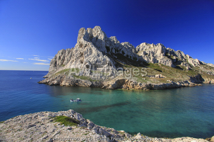 France, Bouches du Rhone, Marseille, Creeks National Park, The Cap Croisette in front of the Maïre island