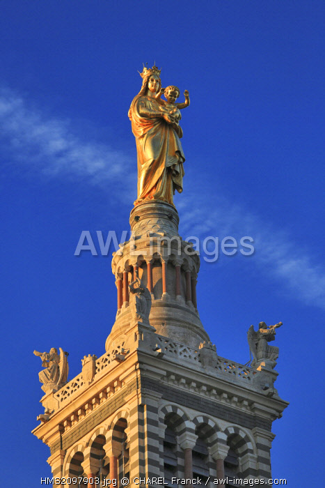 France, Bouches du Rhone, Marseille, statue of the Virgo Marie to the child gilded in the golden sheet, at the top of the Basilica Notre Dame de la Garde, by Eugene Lequesne