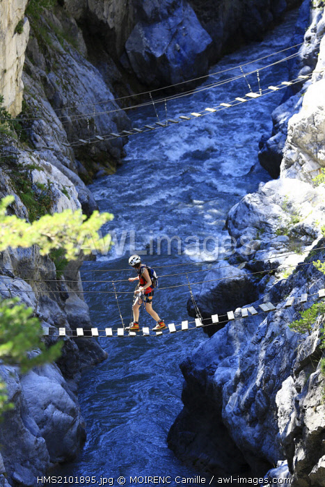 France, Hautes Alpes, regional park of Queyras, Chateau Queyras, the gorges of the Guil, via ferrata