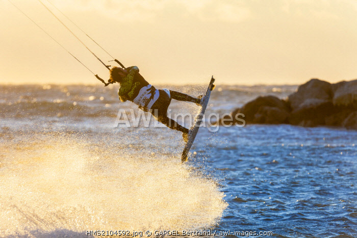 France, Bouches du Rhone, Marseille, Bonneveine Beach, Kiteboarding