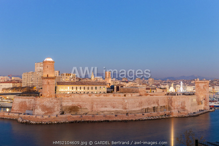 France, Bouches du Rhone, Marseille, the Old Port and Fort Saint Jean