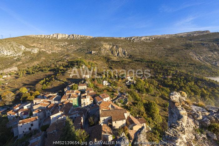 France, Alpes de Haute Provence, regional natural reserve of Verdon, Grand Canyon of Verdon, the village of Rougon