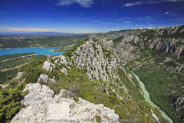 France, Var, Near Aiguines, point of view on the lake of Ste Croix and Verdon Gorge at the level of the Collar of Illoire
