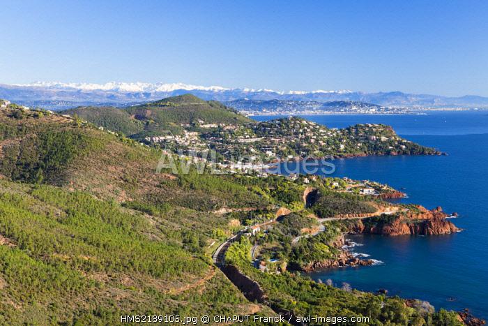 France, Var, Saint Raphael, Corniche de l'Esterel, massif de l'Esterel, Theoule sur Mer, gulf of Napoule, Cannes and snowy mountains of Mercantour in the background