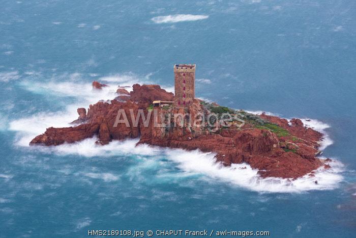 France, Var, Corniche de l'Esterel, Saint Raphael, storm on the Ile d'Or in front of the Cap du Dramont