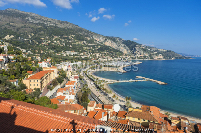 France, Alpes Maritimes, Menton, the Old Town, Sablettes bay from the Old Castle cemetery