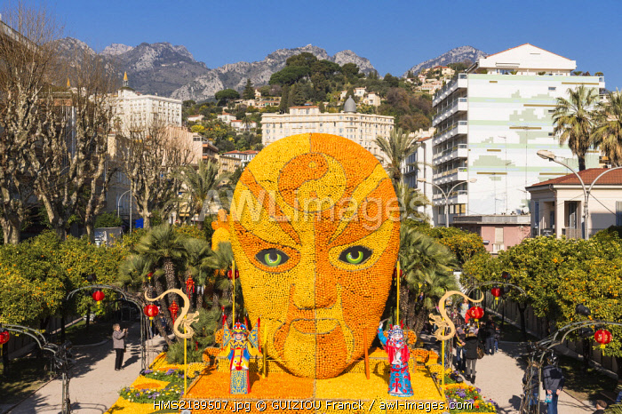 France, Alpes Maritimes, Menton, 82nd Lemon Festival on the theme of the Tribulations of a lemon in China, organized by the Tourist Office in Bioves Gardens