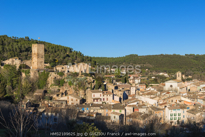 France, Var, Les Arcs sur Argens, medieval village dominated by the square donjon of the 12th century castle