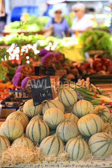 France, Vaucluse, Bedoin, Monday Market, Vegetable Olivier Ceyte producer