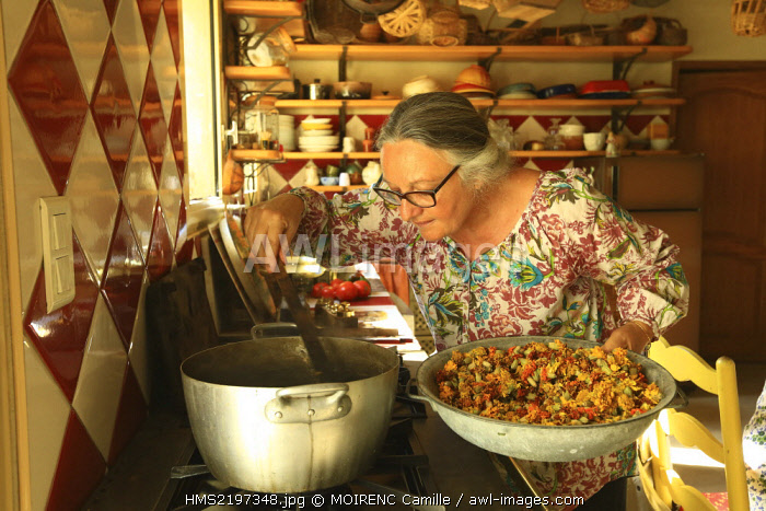 France, Vaucluse, La Roque sur Pernes, pastelliere day, Chantal Granier, dye plants, flowers of carnation of India in decoction for natural dyeing
