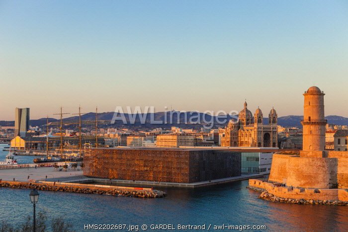 France, Bouches du Rhone, Marseille, the mole J4, MuCEM (Museum of European and Mediterranean Civilisations) by architect Rudy Ricciotti and the Fort Saint Jean, the Cathedral of the Major, CMA CGM tower by architect Zaha Hadid