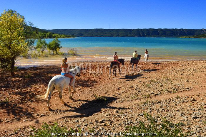 France, Var, Parc Naturel Regional du Verdon, Lake St Croix, horseback riding with Verdon Equitation