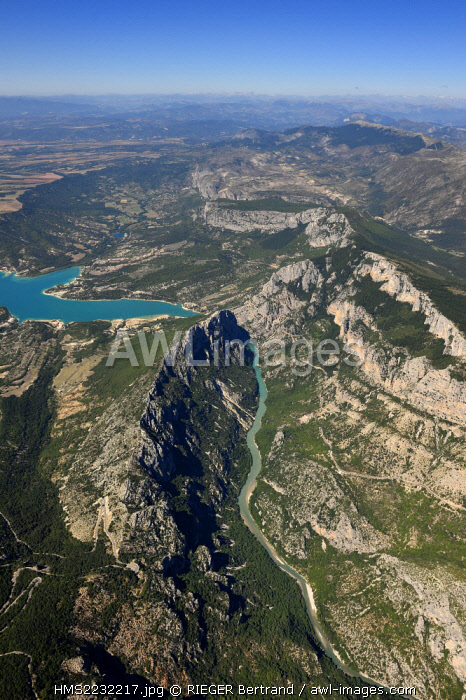 France, France, Var on the Left Bank and Alpes de Haute Provence on the Right Bank, Parc Naturel Regional du Verdon, the Verdon Gorge leading to Lake St. Croix, the Alps mountain range in the background (aerial view)