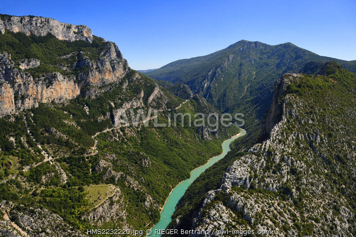 France, France, Var on the Left Bank and Alpes de Haute Provence on the Right Bank, Parc Naturel Regional du Verdon, the Verdon Gorge Grand Canyon between Le Galetas and the Cirque de Vaumale in the background (aerial view)