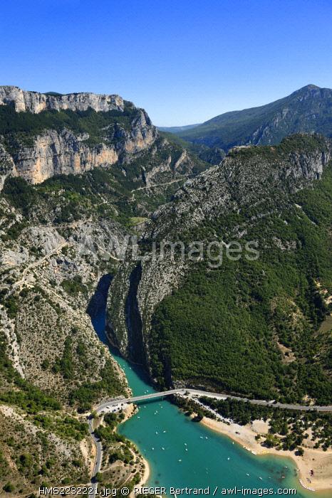 France, France, Var on the Left Bank and Alpes de Haute Provence on the Right Bank, Parc Naturel Regional du Verdon, the Verdon Gorge opening onto Lake St. Croix, Galetas bridge (aerial view)