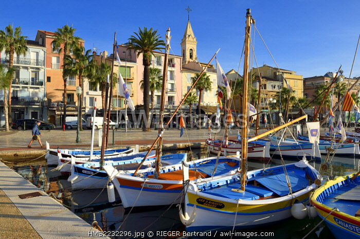 France, Var, Sanary-sur-Mer, traditional fishing boats called pointus in the port and St. Nazaire Church