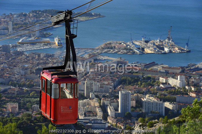 France, Var, Toulon, the Rade (Roadstead), cable car from the Mont Faron and the naval base (Arsenal) in the background