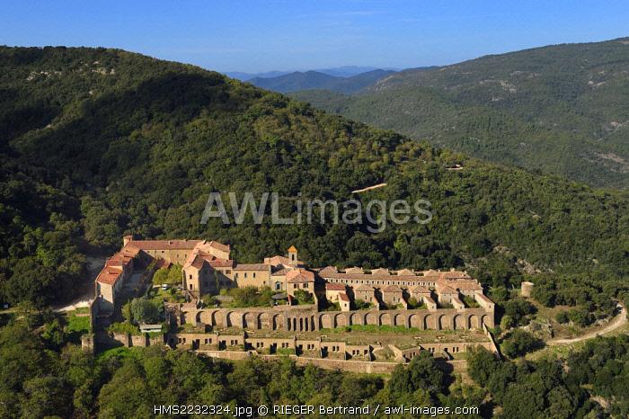 France, Var, Massif des Maures, Collobrieres, chartreuse de la Verne (aerial view)