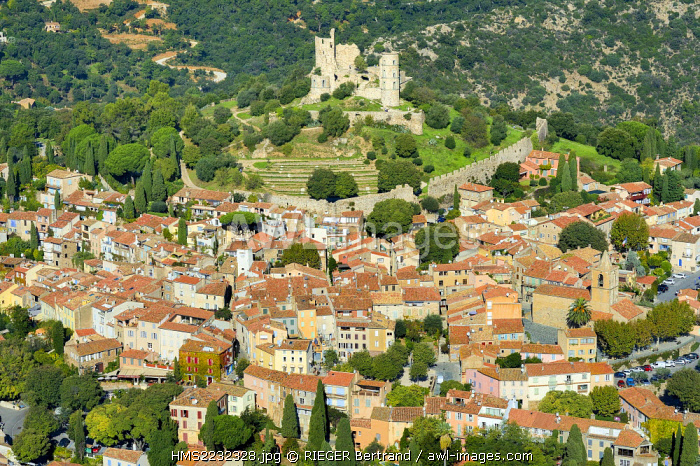France, Var, Grimaud (aerial view)