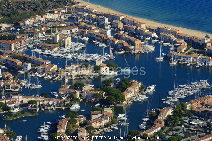 France, Var, Gulf of St Tropez, Port Grimaud seaside town (aerial view)
