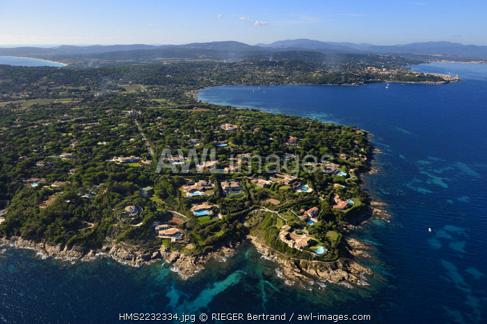 France, Var, the Golfe of Saint Tropez, the pointe de la rabiou in the foreground and Saint-Tropez in the background right (aerial view)