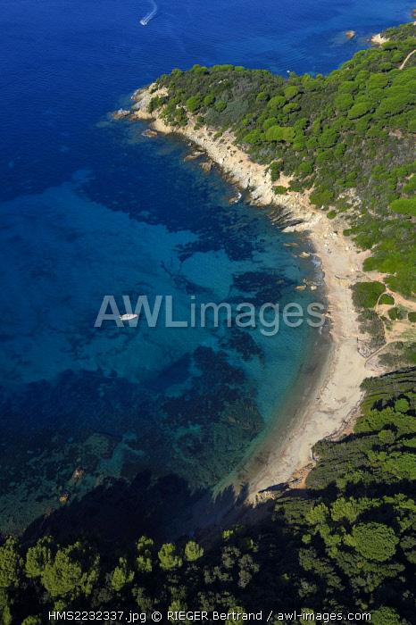 France, Var, Presqu'Ile de Saint-Tropez, Ramatuelle, the south coast to the pointe de Brouis (aerial view)