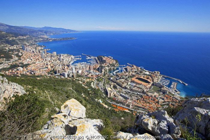 France, Alpes Maritimes, Cap d'Ail and Monaco from La Turbie