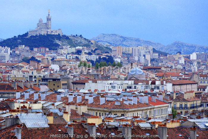 France, Bouches du Rhone , Marseille, Euromediterranee area, district La Joliette, Notre Dame de La Garde background