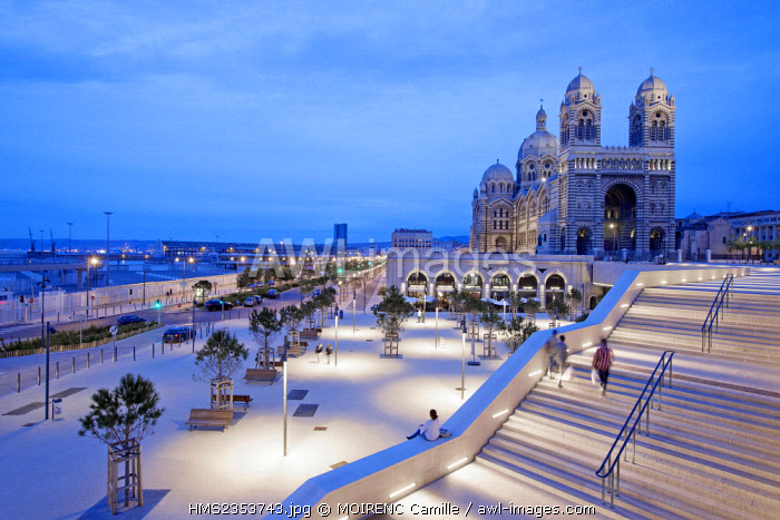 France, Bouches du Rhone , Marseille, Euromediterranee area, La Joliette district, Place des Arts and Euromediterranee boulevard, terraces and vaults of La Major cathedral La Major (nineteenth century) historical monument, the tower CMA CGM, architect Zaha Hadid in the background