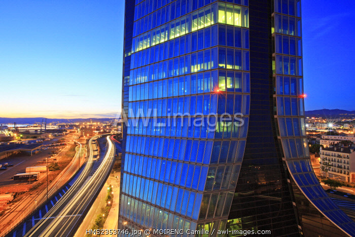 France, Bouches du Rhone , Marseille, Euromediterranee area, Grand Port Maritime Arenc district, the coastal highway (A55) and CMA CGM Tower, architect Zaha Hadid