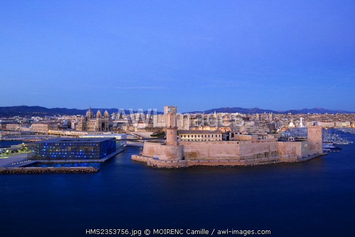 France, Bouches du Rhone, Marseille, Euromediterranee area, Fort Saint Jean classified Historical Monument, MuCEM, the Museum of Civilization in Europe and the Mediterranean R. Ricciotti and R. Carta and the input of architects Old Cathedral La Major (nineteenth century) historical monument