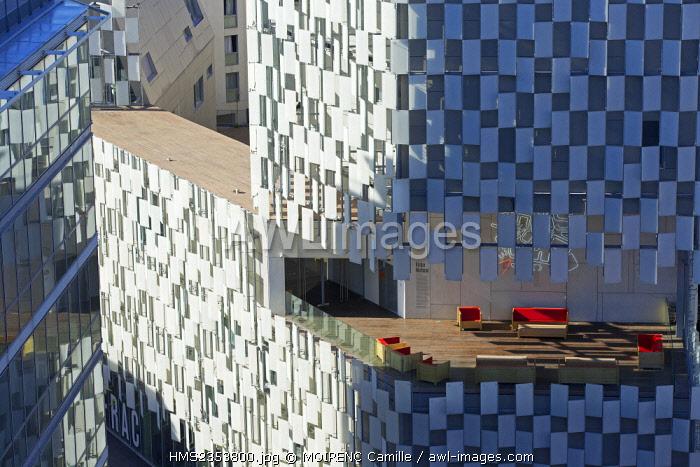 France, Bouches du Rhone , Marseille, Euromediterranee area, La Joliette district, boulevard de Dunkerque, Fonds Regional d'Art Contemporain (FRAC) architect Kengo Kuma