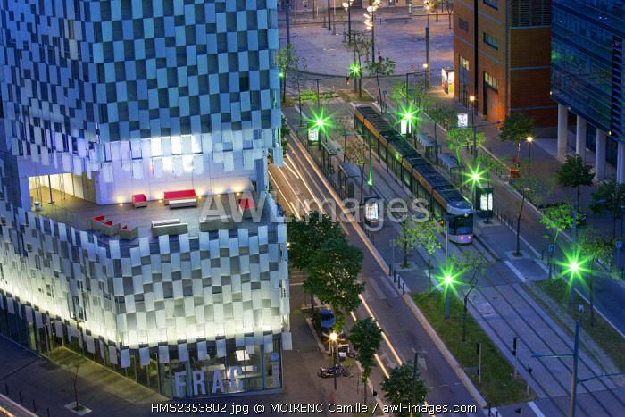 France, Bouches du Rhone , Marseille, Euromediterranee area, La Joliette district, boulevard de Dunkerque, Fonds Regional d'Art Contemporain (FRAC) architect Kengo Kuma, instead of La Joliette background