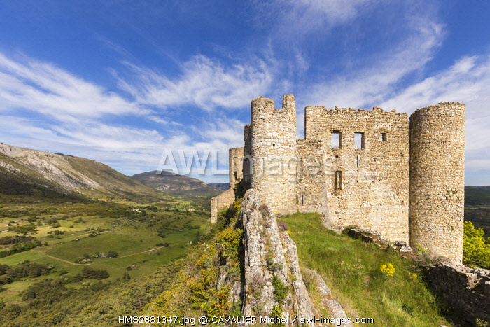 France, Var, regional Natural Reserve of Verdon, Bargème the highest village of the Var, certified the Most beautiful Villages of France, the ruins of the castle built in the XIIIth century by the family of Pontevès
