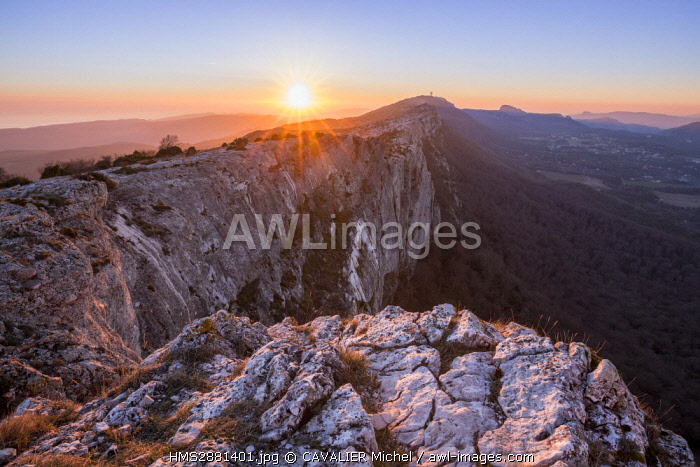 France, Var, Regional Natural Reserve of Sainte Baume, the chain of massif of Sainte Baume seen from the chapel of Saint Pilon (994m)