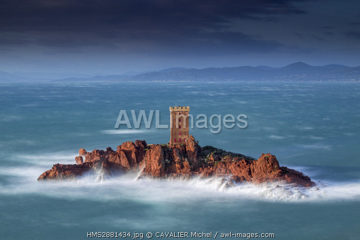 France, Var, Saint Raphael, heavy swell and high winds on the tower of the ile d'Or of the Cap du Dramont