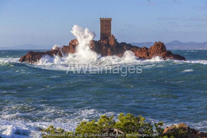 France, Var, Saint Raphael, large wave and high winds on the tower of the ile d'Or of the Cap du Dramont