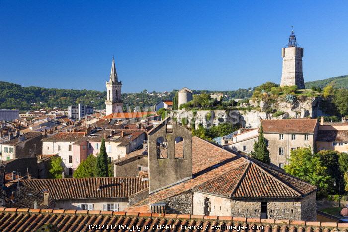 France, Var, Draguignan, old town, Saint Michel Church, Saint Sauveur chapel and Clock Tower
