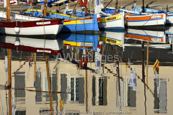 France, Var, Sanary sur Mer, the port, traditional fishing boats, the Pointus, Hotel de la Tour, reflections
