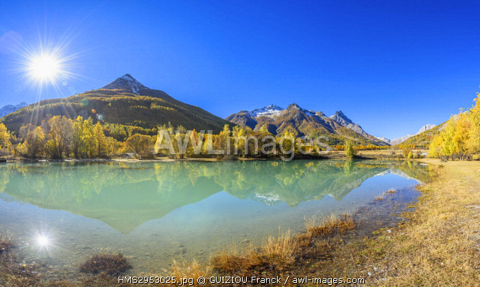 France, Hautes-Alpes, Briançonnais, Guisane valley, Le Monetier-les-Bains, pond close to the hamlet of Le Casset (alt : 1519 m)