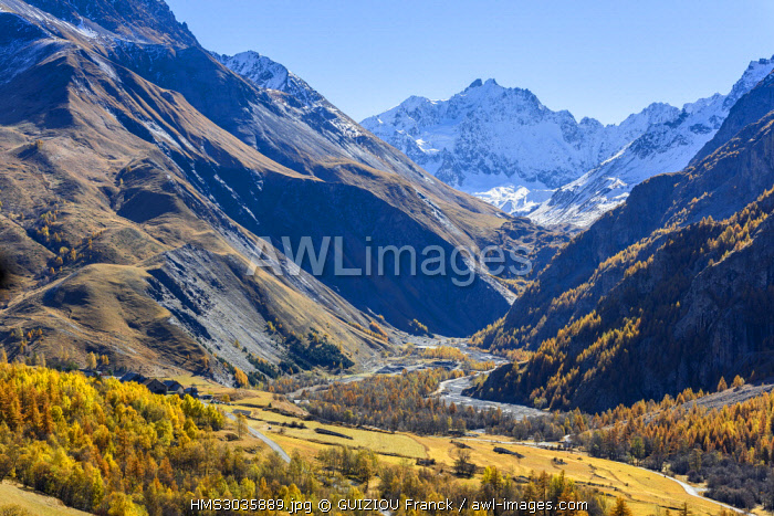 France, Hautes-Alpes, Romanche valley above Villar-d'Arene, panorama from the Lautaret pass road