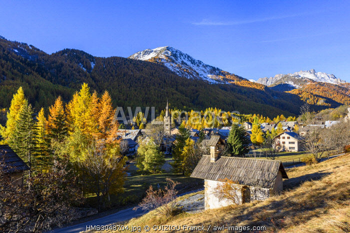 France, Hautes Alpes, Brianconnais in fall, Claree valley, Nevache village