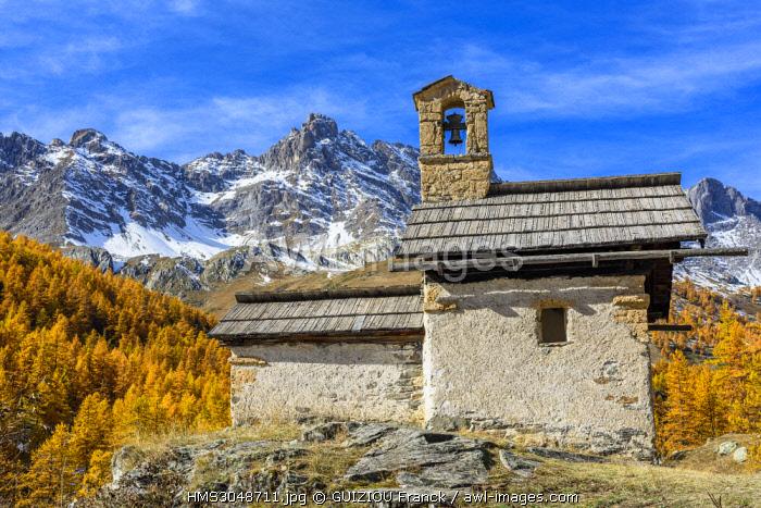 France, Hautes Alpes, Brianconnais in fall, Claree valley, Fontcouverte hamlet, Sainte-Marie chapel