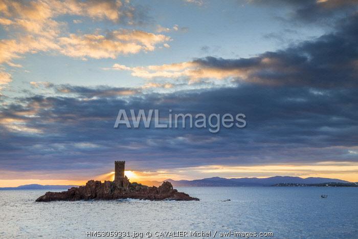 France, Var, Esterel Corniche, Saint Raphael, the tower of the golden island off the Cap du Dramont